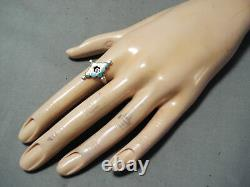 Early Vintage Zuni Turquoise Dishta Sterling Silver Ring Vieux