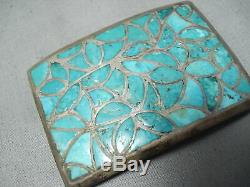 Early Vintage Zuni Turquoise Inlay En Argent Sterling Boucle Vieux