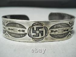Early Whirling Logs Vintage Navajo Sterling Silver Bracelet