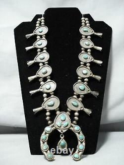 Early Women's Vintage Navajo Turquoise Sterling Silver Squash Blossom Collier