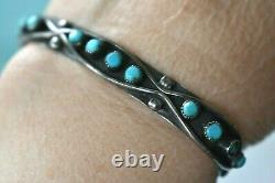 Early Zuni Harvey Era Turquoise Lingot Sterling Silver Turquoise Cuff Bracelet