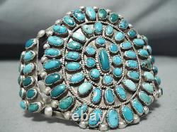 Énorme Early Vintage Navajo Cerrillos Turquoise Sterling Silver Bracelet