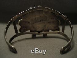 Énorme Vintage Early Chef Zuni / Navajo Turquoise Corail Bracelet Argent