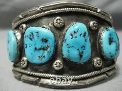 Énorme Vintage Vintage Navajo Bleu Turquoise Sterling Bracelet Argent Vieux