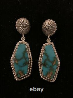 Estate Early Vernon Haskie Post Boucles D'oreilles Sterling Silver Turquoise