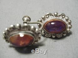Fab Early Vintage Souffle De Dragon Navajo Opal Sterling Boucles D'oreilles En Argent