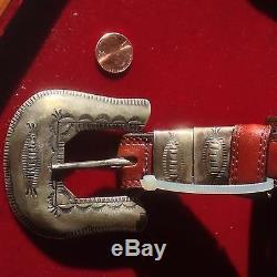 Fait À La Main Early Antique Set Native American Sterling Boucle De Ceinture