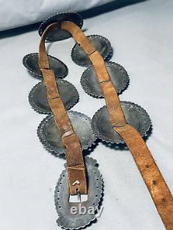 Fin Des Années 1800 Début Des Années 1900 Vintage Navajo 1ère Phase Coin Silver Concho Belt Old