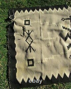 Fine Antique Navajo Early Ganado Historic Whirling Logs Blanket Amérindien