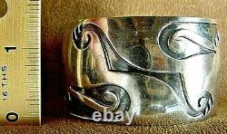 Fine Early Old Pawn Classic Hopi Sterling Silver Large Cuff Bracelet Heavy 73.6g