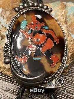 Finest Early Zuni Grand Sterling Mudhead Kachina Bolo Tie Matching Conseils Un Pinto