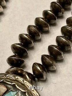 Finest Old Pawn Early Zuni Sterling Multi-gem Inlay Zuni Dancer Pendentif Collier