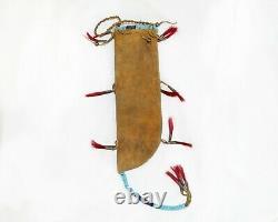 Gaine De Couteau Perlée Sioux Amérindien Au Début Des Années 1900
