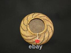 Goulot D'étranglement Polychrome Yokuts, Native American Indian Basket, Vers 1895