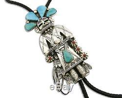 Grand Artiste Navajo Un Chanteur Early Morning Kachina Turquoise. 925 Bolo