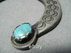 Historique Début Des Années 1900 Vintage Navajo Turquoise Silver Squash Blossom Collier