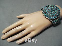 Immense Early Vintage Navajo Cerrillos Turquoise Bracelet En Argent Sterling