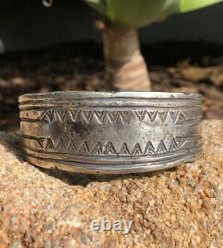 Important Début Des Années 1920 Première Phase Pion Navajo Silver Lingot Cuff Bracelet -131.5g