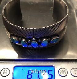Important Early Hopi Preston Monongye Sterling Gem Blue Turquoise Cuff Bracelet