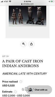 Indien De Fer Amérindien Cheminée Chenets Chenet Rare Early Massachusetts