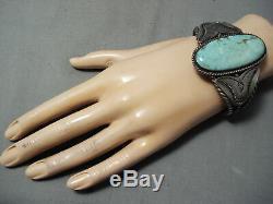 L'un Des Meilleurs Early Vintage Navajo # 8 Turquoise Bracelet En Argent Sterling