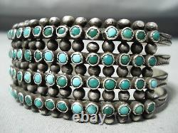 L'un Des Meilleurs Tôt Vintage Zuni Snake Eyes Turquoise Sterling Bracelet En Argent