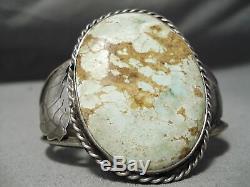 L'un Des Meilleurs Vintage Navajo Début # 8 Turquoise Bracelet En Argent Sterling Vieux