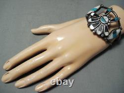 L'un Des Meilleurs Vintage Zuni Turquoise Sterling Bracelet En Argent Vieux