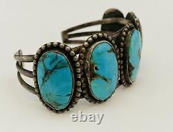 Les Premiers Hommes De Navajo Naturel Turquoise Sterling Silver Vintage Cuff Bracelet. 925
