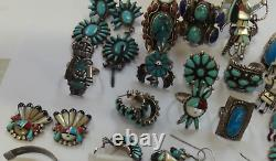 Lot De Bijoux Amérindiens Et Autres Ethniques, Y Compris Bagues, Bracelet, Boucle D'oreille