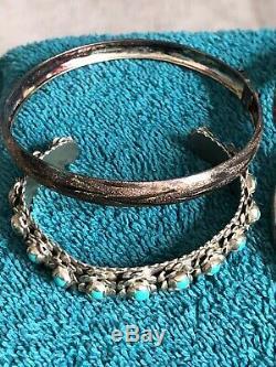Lot De Mexicain, Amérindien Autres Sterling Bracelets, Boucles D'oreilles, Bagues Et Plus