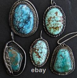 Lot Na Navajo Premiers Pendentifs En Argent Turquoise Pawn