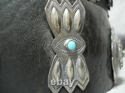 Musée Début 1900 Vintage Navajo Turquoise En Argent Sterling Concho Ceinture Vieux