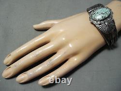 Musée Vintage Navajo Début # 8 Turquoise Bracelet En Argent Sterling