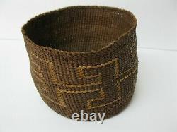 Native American Antique Début 20ème C N. California Finement Woven Basket