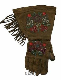 Native American Perlé Buckskin Gauntlet Yakima Gants Us Début Du 20e Siècle