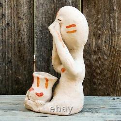 Native American Pottery-vintage Début Des Années 1930-tesuque Rain God-see No Evil