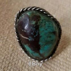 Navajo Bisbee Turquoise Bague En Argent Sterling Début Taille De 1960 10 Grand Unsigned