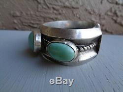 Navajo Lingot Bracelet Très Lourd Vieux Antique Monnaie Argent Turquoise Early