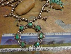 Navajo Silver Early Kingman Turquoise Squash Blossom Necklace Native Old Pawn