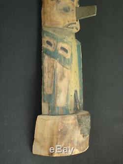 Nice, Début Du Nord-ouest Sculpté Totem Pole, Artefact Amérindien C. 1905