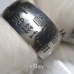 Norbert Peshlakai Navajo Vintage Silver Stamped Bracelet Early Texture 72