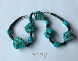 Nugget De Santo Domingo Turquoise Vintage Et Collier De Perles Heishi Squaw 18
