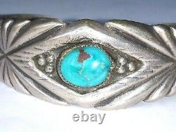 Old Pawn Early Sandcast Navajo Sterling Silver & Turquoise Cuff Bracelet Harvey
