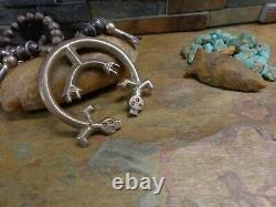 Omg! Début Navajo Yei Kachina Sterling Squash Blossom Collier Native Old Pawn