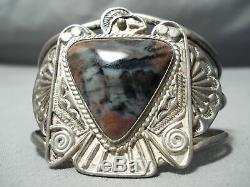 Opulent Early Vintage Navajo Bois Pétrifié En Argent Sterling Thunderbird Bracelet
