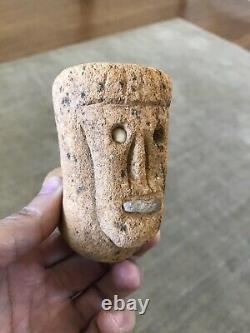 Pipe D'effigie Amérindiene Tôt Avec Le Visage D'incrustation De Coquille