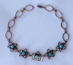 Premier Collier D'argent Sterling Amérindien Art Déco/art Nouveau Turquoise