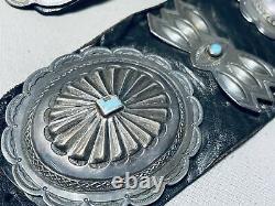 Premier Énorme Main Outillé Vintage Navaj Turquoise Sterling Argent Concho Ceinture