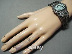 Premier Exemple Early Vintage Navajo Domed # 8 Turquoise Bracelet En Argent Sterling